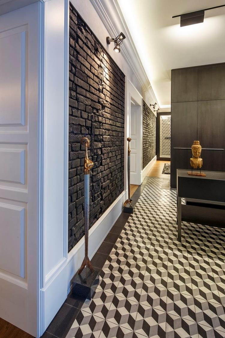 painted bricks wall and 3d floor design