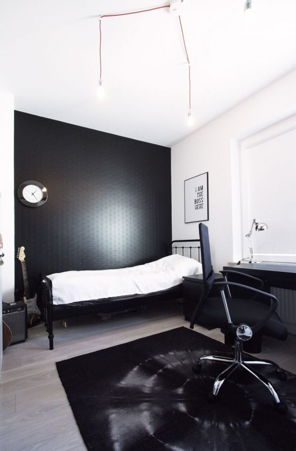 black wall office bedroom