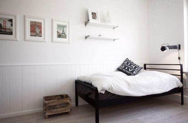 simple kids room black bed frame